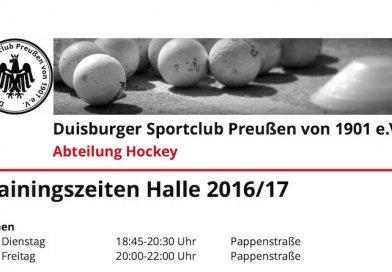 Trainingszeiten Halle 2016/17
